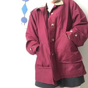 Lands End Burgundy Lined Insulated Barn Coat 0862